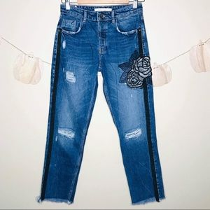 Zara denim Distressed Jeans with Rose Patch